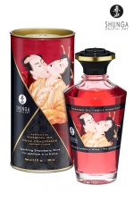 Huile chauffante - Vin pétillant fraise : Huile aphrodisiaque comestible et chauffante, saveur Vin pétillant fraise, activée par la chaleur de la peau ou les baisers, by Shunga.
