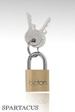Cadenas Brass Padlock : Cadenas simple adapté aux anneaux de bondage, fourni avec 2 clés. Vendu à l'unité.