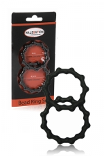 Set 2 cockrings  Bead Ring - Malesation : jeu de 2 cockring avec relief perlé pour plus de sensations tout en sublimant l'érection.