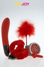 Coffret JFY luxe box No 4  : Coffret coquin Just For You No 4 avec 5 articles érotiques sur le thème du rouge.