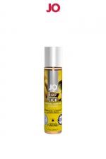Lubrifiant aromatisé banane 30 ml : Lubrifiant aromatisé comestible parfum banane au format 30 ml de la marque Américaine System Jo.