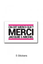 Pack 5 stickers J&M n°3 : Pack de 5 Stickers blancs Jacquie & Michel  (dimensions 5 x 3.3 cm) à coller où vous voulez.
