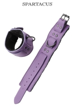 Bracelets poignets cuir violet : Paire de menottes de poignets en cuir violet de la gamme Crave Line - by Spartacus.