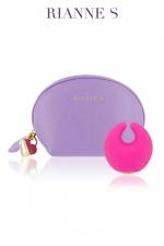 Stimulateur Moon Vibe : Un luxueux mini vibro pour le clitoris et sa sa pochette de rangement type trousse à maquillage.