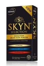 Préservatifs MANIX Skyn sélection x9 : Sélection de préservatifs Manix SKYN® dans un seul coffret avec: 3 ORIGINAL, 3 EXTRA LUBRIFIES, 3 INTENSE FEEL.